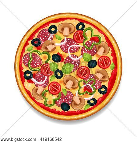 Colorful Round Tasty Pizza On White Background With Salami Tomato Mushrooms And Olives Flat Isolated