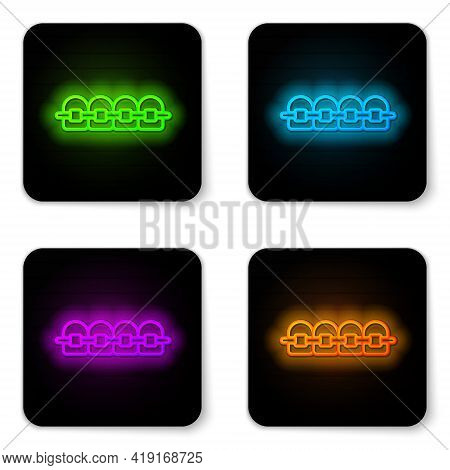 Glowing Neon Line Teeth With Braces Icon Isolated On White Background. Alignment Of Bite Of Teeth, D