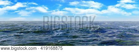 Ocean natural background, horizontal panorama with blue sky and cumulus clouds, with calm water, 3D render illustration.