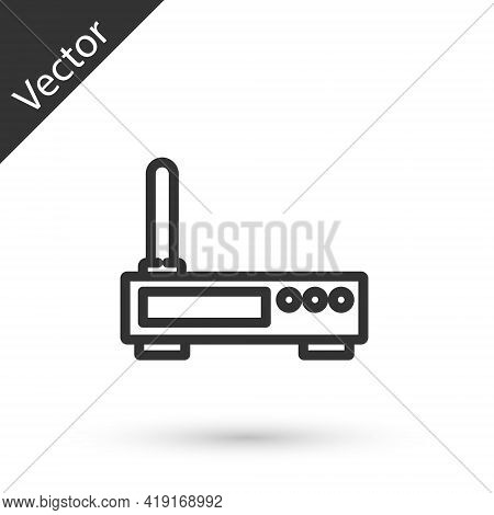 Grey Line Router And Wi-fi Signal Icon Isolated On White Background. Wireless Ethernet Modem Router.