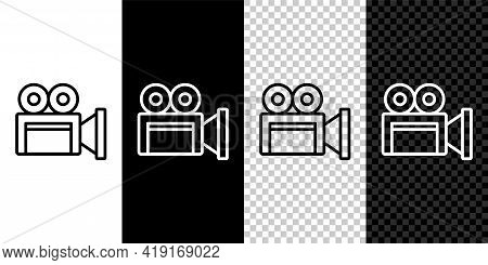 Set Line Cinema Camera Icon Isolated On Black And White Background. Video Camera. Movie Sign. Film P