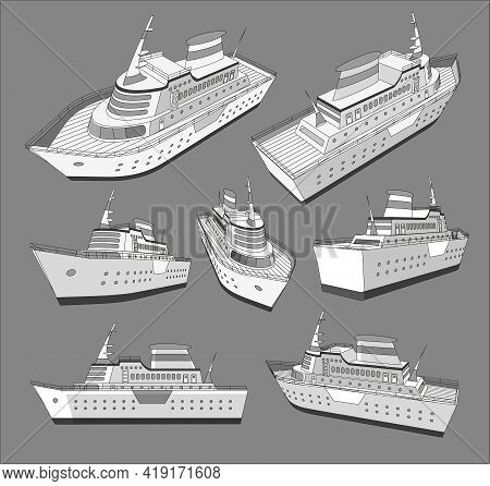 Set , Collection With Cruise Big Ship 3D Models Good For Travel And Tourism Ads, Books, Good For Tra