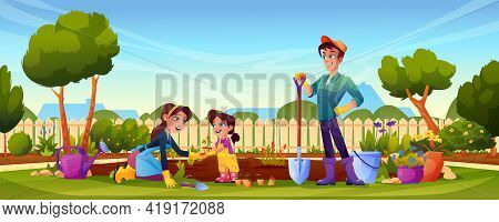 Family Planting Flowers On Backyard, Mother, Father And Daughter. Cartoon People In Garden, Flower B