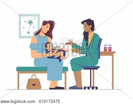 Vaccination In Clinic Or Hospital, Newborn Baby On Mothers Knees, Immunization To Prevent Coronaviru
