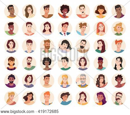 People Portraits And Emotional Faces Icons Set. Group Of Men And Women. Diversity Of Personages, Mul