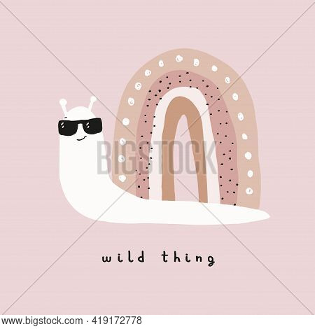 Wild Thing.abstract Vector Art With Funny Snail. Cute Hand Drawn Snail With Rainbow House Isolated O