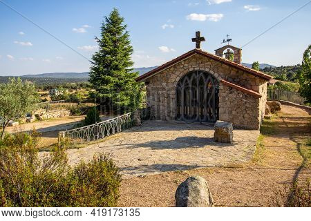 Small Chapel With A Cross In The Middle Of Fields. Madrid, Spain