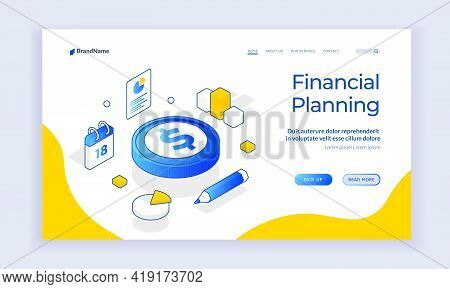 Financial Planning. Isometric Vector Landing Page Template With Coin And Chart Elements On White Bac