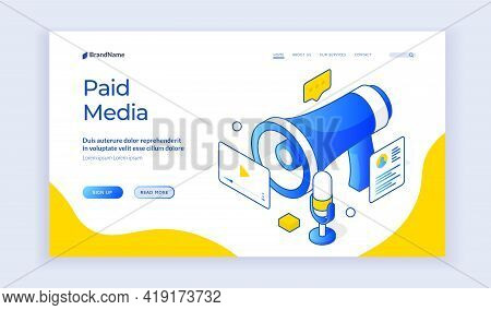 Paid Media. Isometric Vector Website Landing Homepage With Blue Elements Of Megaphone And Social Med