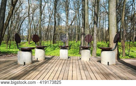 Unusual Chairs In A Spring Park In Europe. Nice Sunny Weather