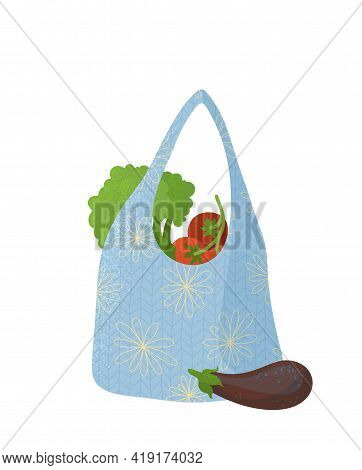 Eco Handbag With Vegetables Flat Vector Illustration