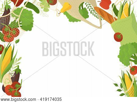Natural Produce Flat Vector Illustration On White Background