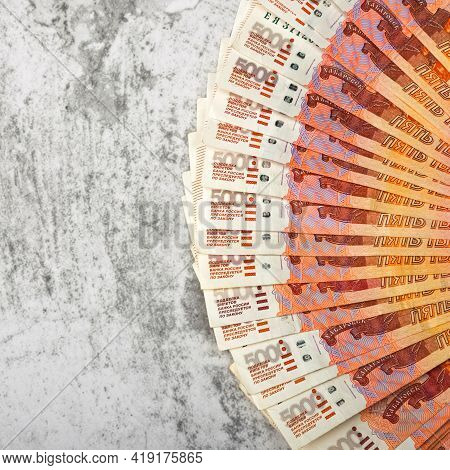 Russian Money Banknotes Of Five Thousand Rubles, Background, Banknotes Are Arranged In A Fan On A Gr
