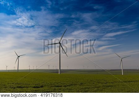 Wind Farm Or Wind Park, With High Wind Turbines For Generation Electricity