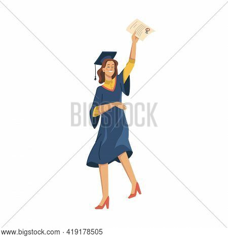 Woman Student Celebrating University Graduation Isolated Flat Cartoon Character. Vector Girl In Acad