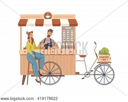 Client Drinking, Barista Making Coffee In Mobile Bike Kiosk Isolated Small Takeout Takeaway Shop. Ve