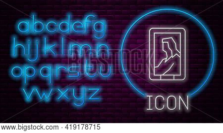 Glowing Neon Line Portrait Picture In Museum Icon Isolated On Brick Wall Background. Neon Light Alph