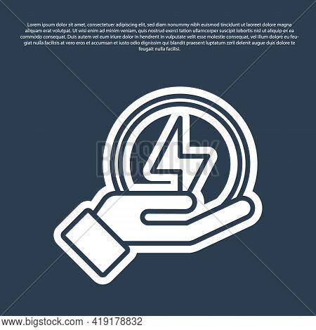 Blue Line Lightning Bolt Icon Isolated On Blue Background. Flash Sign. Charge Flash Icon. Thunder Bo