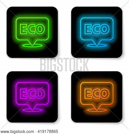 Glowing Neon Line Banner, Label, Tag, Logo For Eco Green Healthy Food Icon Isolated On White Backgro