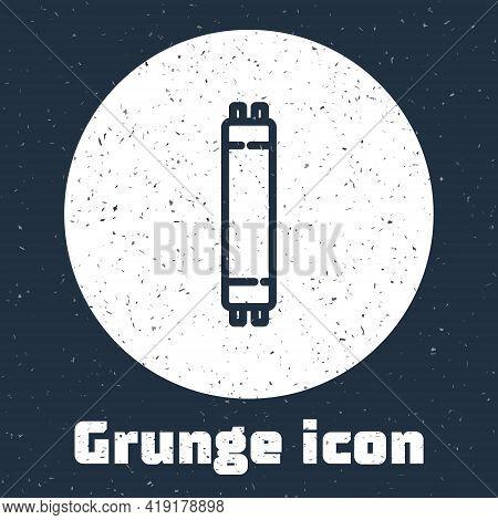 Grunge Line Long Luminescence Fluorescent Energy Saving Lamp Icon Isolated On Grey Background. Monoc