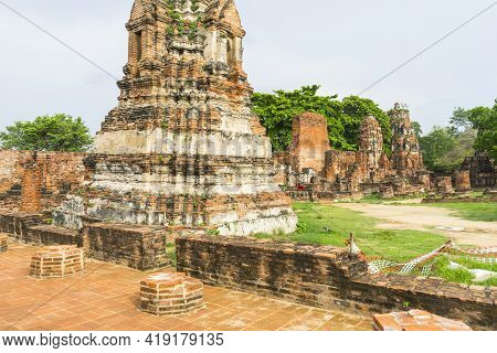 Ruined Of Wat Mahathat In Ayutthaya Historical Park, Ayutthaya, Thailand