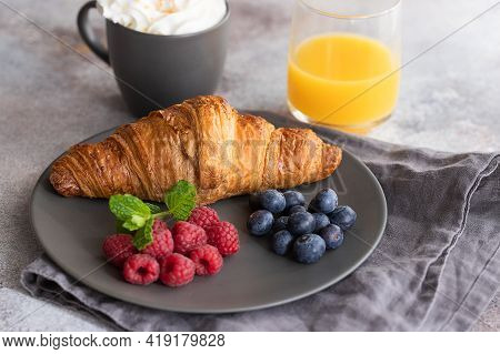 Continental Breakfast, French Croissant, Coffee With Milk, Fruit And Orange Juice. Good Morning Conc