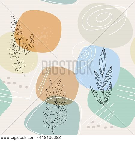 Seamless Pattern With An Abstract Composition Of Simple Shapes And Lines. Botanical Elements Of Fiel