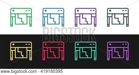 Set Line Plotter Icon Isolated On Black And White Background. Large Format Multifunction Printer. Po