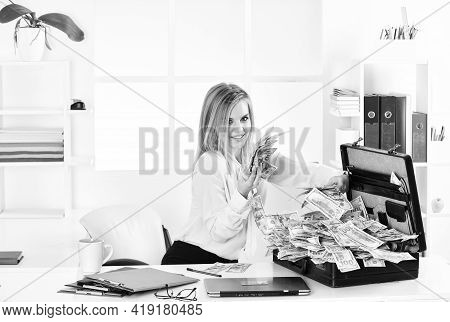 Financial Achievement. Financial Expert. Girl With Briefcase Full Of Cash. Money Laundering. Busines