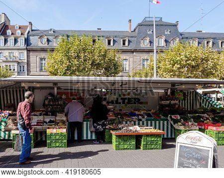 Strasbourg, France - Sep 22, 2017: People Shopping At The Market In Place Kleber Strasbourg For Deli