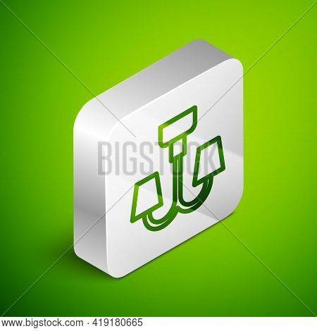 Isometric Line Chandelier Icon Isolated On Green Background. Silver Square Button. Vector