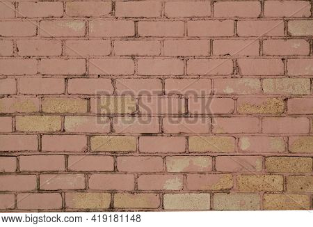 Pattern Of Brick Wall With Blur Effect. Abstract Architectural Background And Texture For Design.