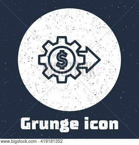 Grunge Line Gear With Dollar Symbol Icon Isolated On Grey Background. Business And Finance Conceptua