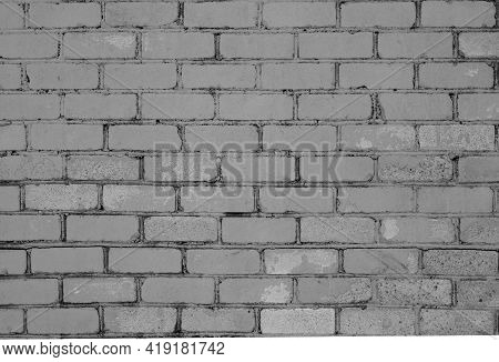 Pattern Of Brick Wall With Blur Effect In Black And White. Abstract Architectural Background And Tex