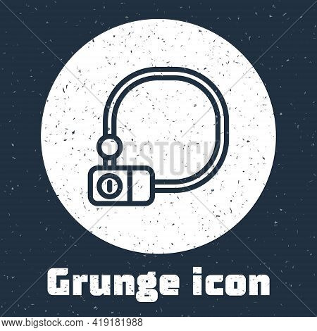 Grunge Line Bicycle Lock U Shaped Industrial Icon Isolated On Grey Background. Monochrome Vintage Dr