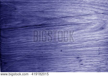 Old Oak Board Texture As Background With Blur Effect In Blue Tone. Surface And Natural Pattern.