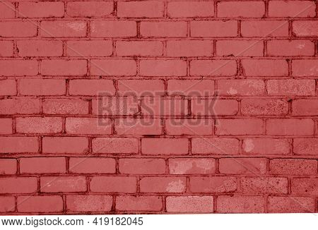 Pattern Of Brick Wall With Blur Effect In Red Tone. Abstract Architectural Background And Texture Fo
