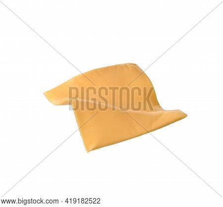 Square Piece Of Cheddar Cheese Isolated On White Background, Close Up