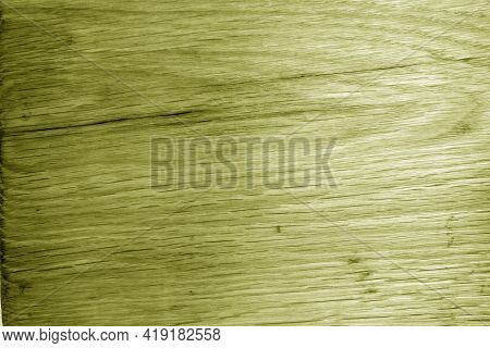 Old Oak Board Texture As Background With Blur Effect In Yellow Tone. Surface And Natural Pattern.