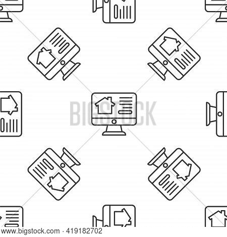 Grey Line Online Real Estate House On Monitor Icon Isolated Seamless Pattern On White Background. Ho