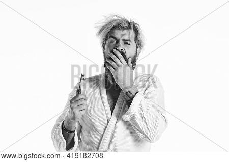 Bad Smell. Keep Teeth Healthy. Healthy Habits. Brush Teeth. Morning Routine. Oral Hygiene. Man In Ba