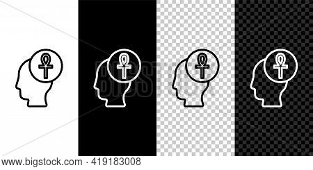 Set Line Cross Ankh Icon Isolated On Black And White, Transparent Background. Vector