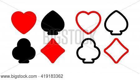 Vector Collection Of Icons Of Card Suits With Uniform Fill And Outline. Red Hearts And Diamond, Blac