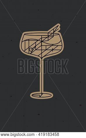 Art Deco Cocktail Cuba Libre Drawing In Line Style On Dark Background