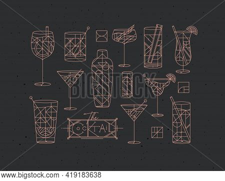 Art Deco Cocktails Set Drawing In Line Style On Dark Background