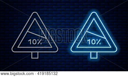 Glowing Neon Line Steep Ascent And Steep Descent Warning Road Icon Isolated On Brick Wall Background