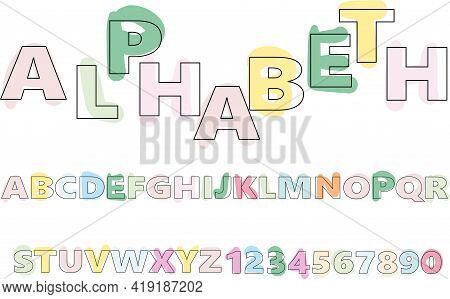 Hand-drawn Alphabet In A Crude, Primitive Style Random Pastel Colors. Simple Flat Vector Illustratio