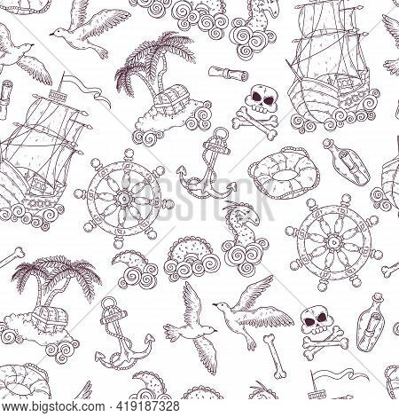 Hand Drawn Sea Journey Elements Vector. Isolated Objects For Your Design.