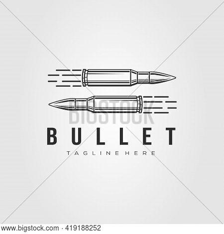 Minimalist Ammo, Bullet, Ammunition Line Art Logo Vector Illustration Design