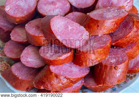 Sausage Cut Into Slices, Typical Delicatessen Product From Eastern Europe, Meat Food